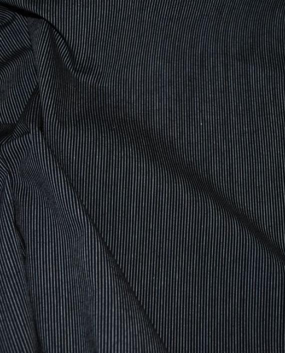 """Ткань Хлопок Костюмный """"Бело-Черный"""" 0043 цвет серый в полоску картинка 1"""