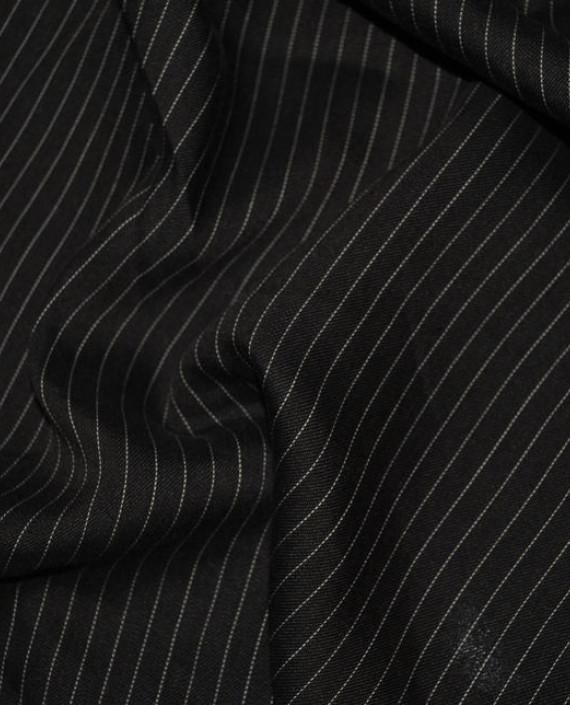 """Ткань Хлопок Костюмный """"Коричневый"""" 0044 цвет черный в полоску картинка"""