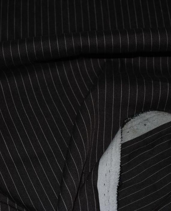 """Ткань Хлопок Костюмный """"Коричневый"""" 0044 цвет черный в полоску картинка 1"""