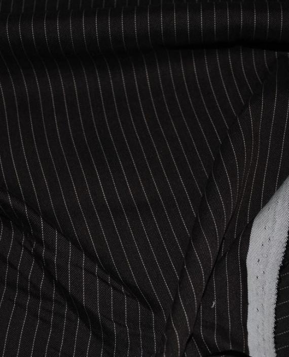 """Ткань Хлопок Костюмный """"Коричневый"""" 0044 цвет черный в полоску картинка 2"""