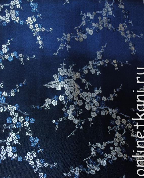 """Ткань Китайский шелк """"Сакура на лазурном"""" 0001 цвет синий цветочный картинка"""