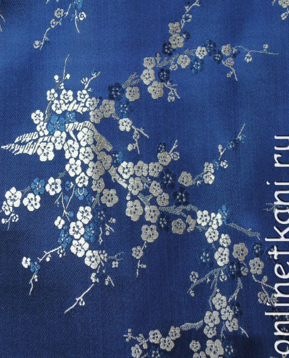 """Ткань Китайский шелк """"Сакура на лазурном"""" 0001 цвет синий цветочный картинка 2"""