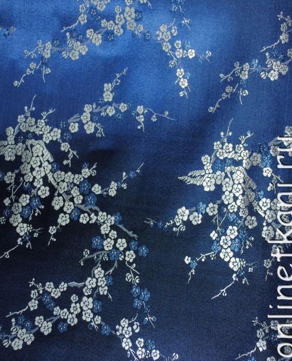 """Ткань Китайский шелк """"Сакура на лазурном"""" 0001 цвет синий цветочный картинка 1"""