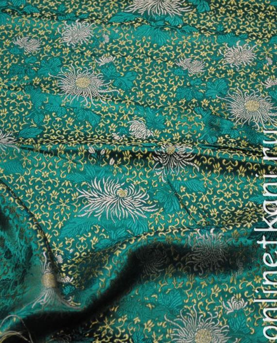 """Ткань Китайский шелк """"Восточные цветы"""" 0005 цвет бирюзовый цветочный картинка 1"""