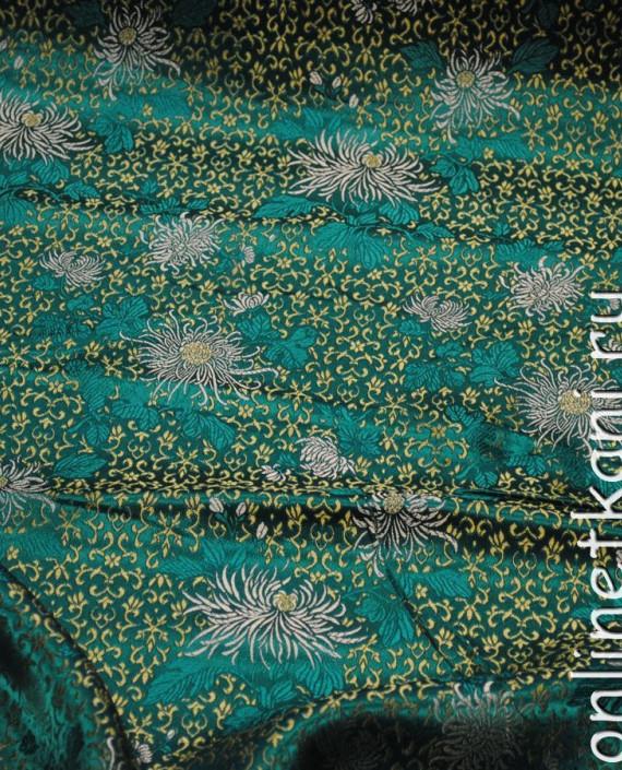 """Ткань Китайский шелк """"Восточные цветы"""" 0005 цвет бирюзовый цветочный картинка"""