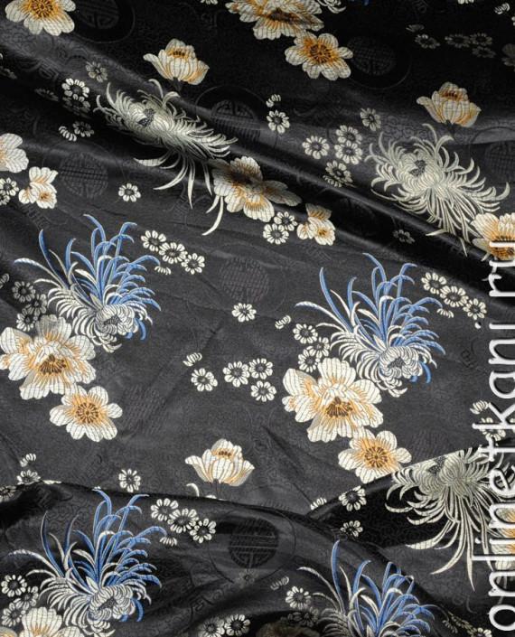 """Ткань Китайский шелк """"Цветы на черном"""" 0006 цвет черный цветочный картинка"""