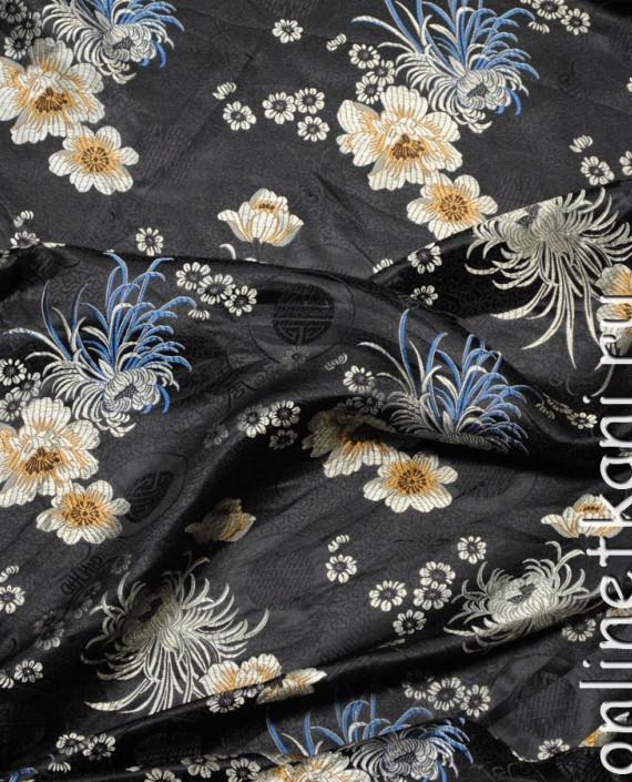 """Ткань Китайский шелк """"Цветы на черном"""" 0006 цвет черный цветочный картинка 2"""