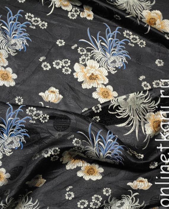 """Ткань Китайский шелк """"Цветы на черном"""" 0006 цвет черный цветочный картинка 1"""