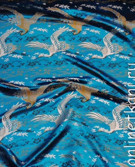 """Ткань Китайский шелк """"Восточный пейзаж"""" 0010 цвет голубой абстрактный картинка"""