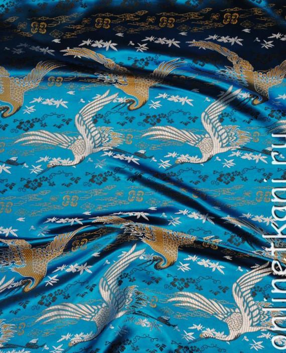 """Ткань Китайский шелк """"Восточный пейзаж"""" 0010 цвет голубой абстрактный картинка 3"""