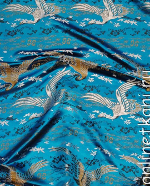 """Ткань Китайский шелк """"Восточный пейзаж"""" 0010 цвет голубой абстрактный картинка 2"""