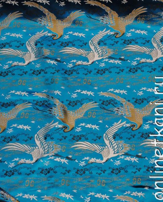 """Ткань Китайский шелк """"Восточный пейзаж"""" 0010 цвет голубой абстрактный картинка 1"""