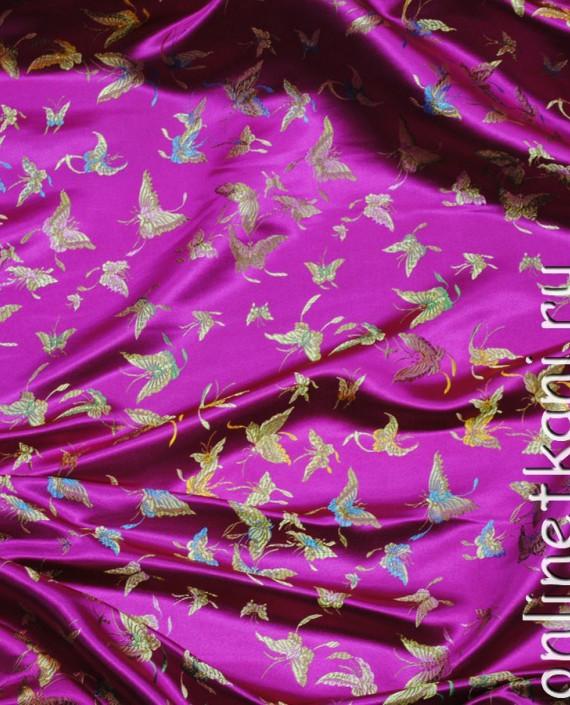 """Ткань Китайский шелк """"Бабочки"""" 0013 цвет малиновый абстрактный картинка 1"""
