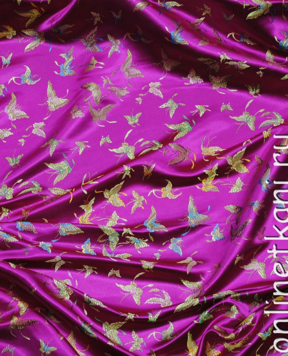 """Ткань Китайский шелк """"Бабочки"""" 0013 цвет малиновый абстрактный картинка"""