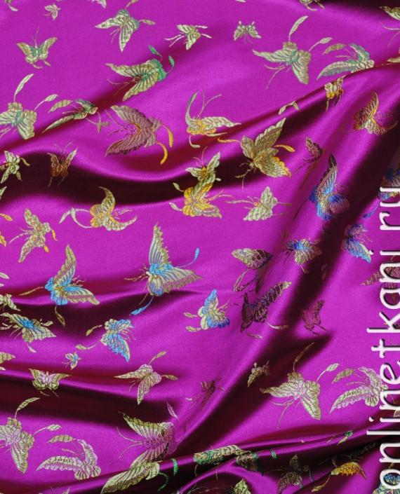 """Ткань Китайский шелк """"Бабочки"""" 0013 цвет малиновый абстрактный картинка 2"""