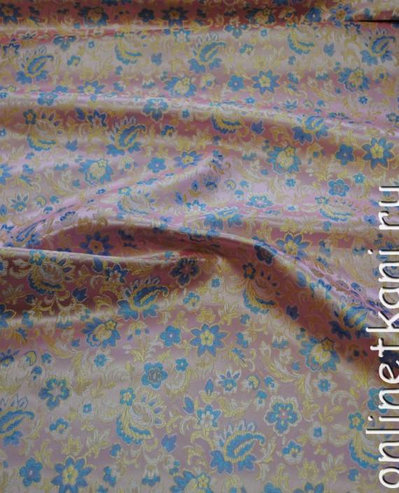 """Ткань Китайский шелк """"Цветы на розовом"""" 0057 цвет розовый цветочный картинка"""
