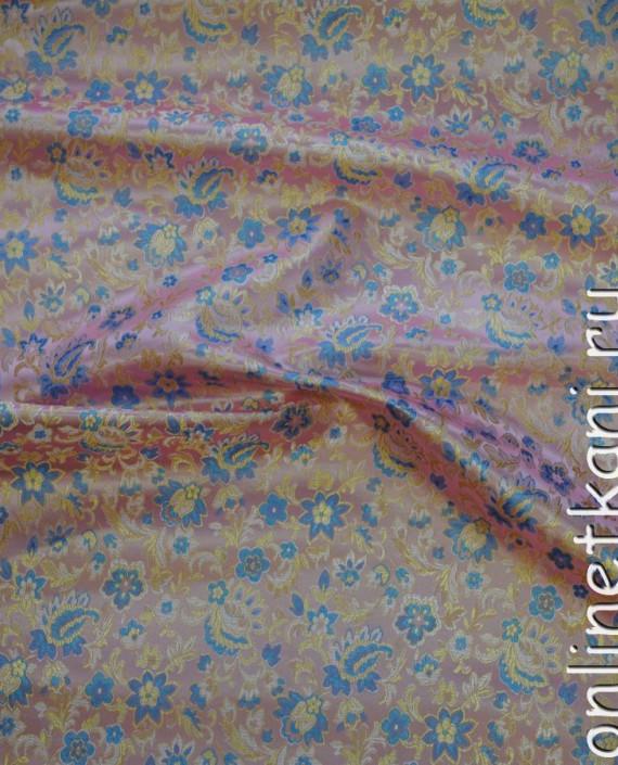 """Ткань Китайский шелк """"Цветы на розовом"""" 0057 цвет розовый цветочный картинка 2"""