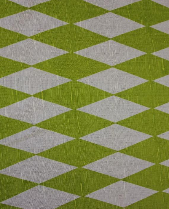 """Ткань Лен """"Зеленый Ромб"""" 5001 цвет зеленый в клетку картинка 1"""