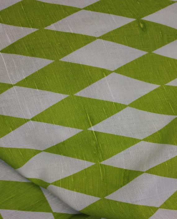 """Ткань Лен """"Зеленый Ромб"""" 5001 цвет зеленый в клетку картинка"""