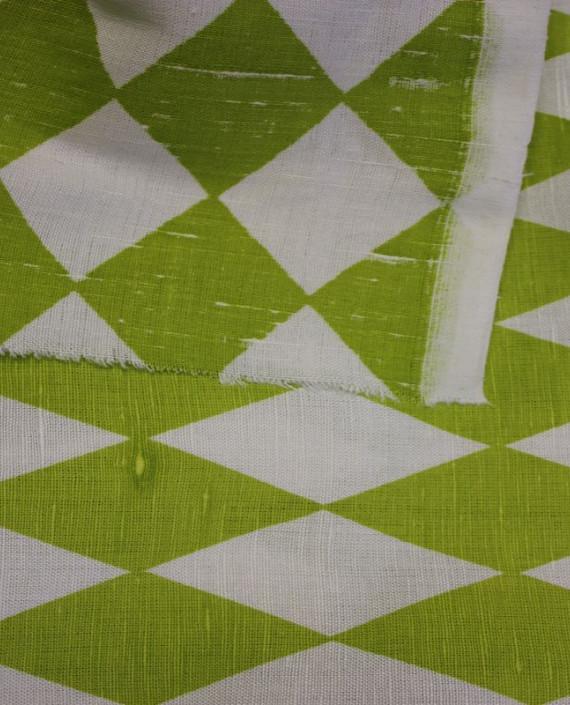 """Ткань Лен """"Зеленый Ромб"""" 5001 цвет зеленый в клетку картинка 2"""