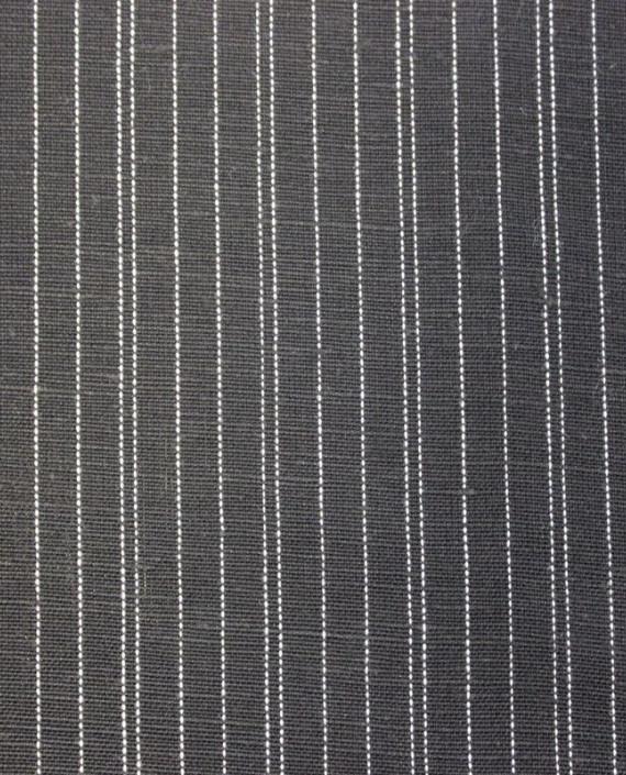 Ткань Лен костюмный 5004 цвет серый в полоску картинка 2