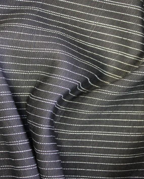 Ткань Лен костюмный 5004 цвет серый в полоску картинка