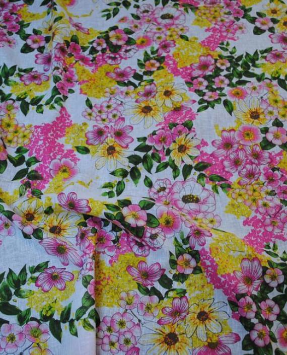 Ткань Лен «Весеннее настроение» 0002 цвет разноцветный цветочный картинка