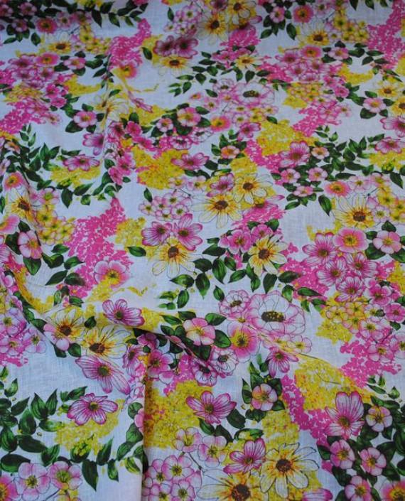 Ткань Лен «Весеннее настроение» 0002 цвет разноцветный цветочный картинка 2