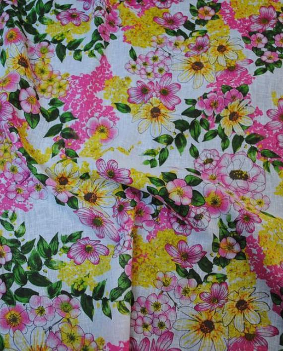 Ткань Лен «Весеннее настроение» 0002 цвет разноцветный цветочный картинка 1