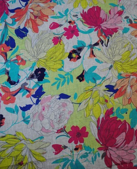 Ткань Лен «Осенние мотивы» 0003 цвет разноцветный цветочный картинка