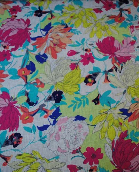 Ткань Лен «Осенние мотивы» 0003 цвет разноцветный цветочный картинка 2