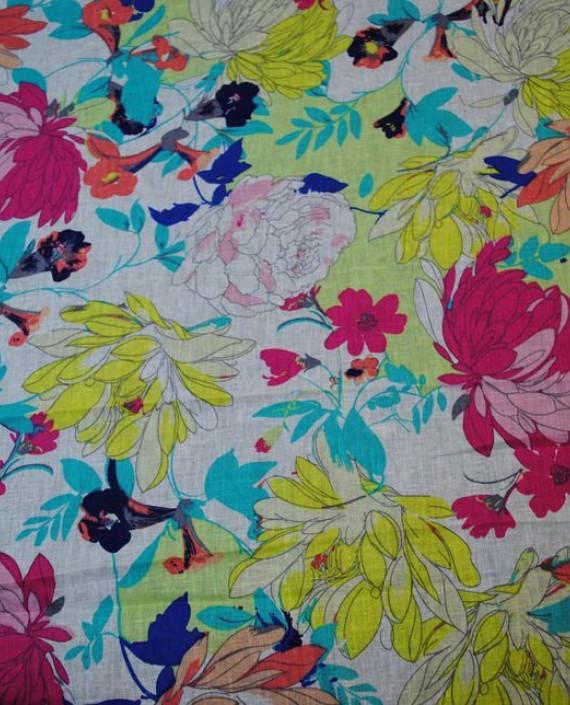 Ткань Лен «Осенние мотивы» 0003 цвет разноцветный цветочный картинка 1