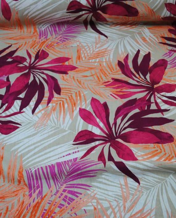 Ткань Лен «Хризантемы»  0004 цвет разноцветный цветочный картинка