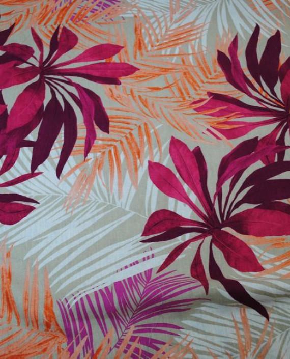 Ткань Лен «Хризантемы»  0004 цвет разноцветный цветочный картинка 1