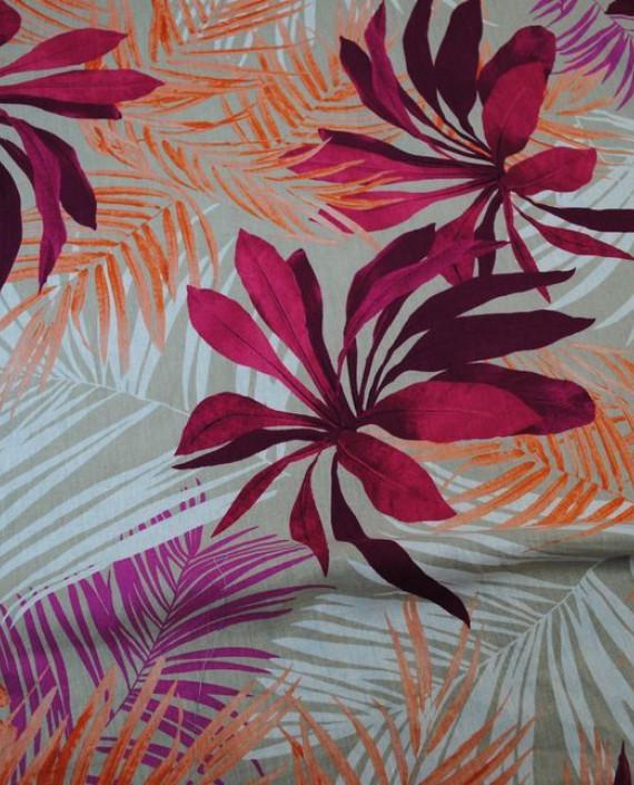 Ткань Лен «Хризантемы»  0004 цвет разноцветный цветочный картинка 2