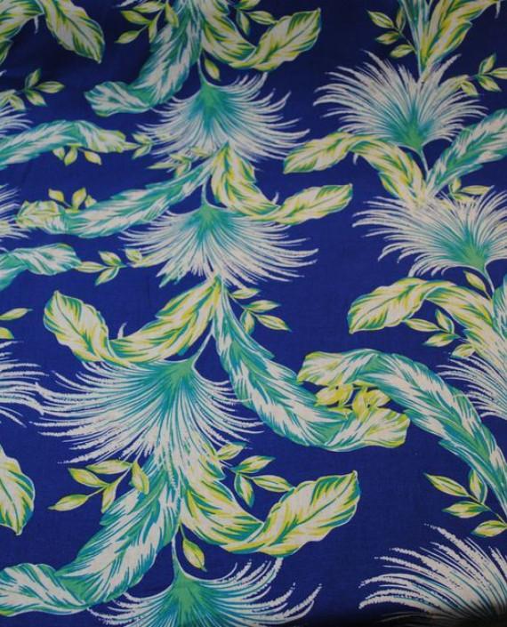 Ткань Лен «Птица счастья» 0005 цвет синий абстрактный картинка