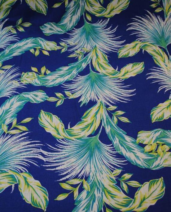 Ткань Лен «Птица счастья» 0005 цвет синий абстрактный картинка 2