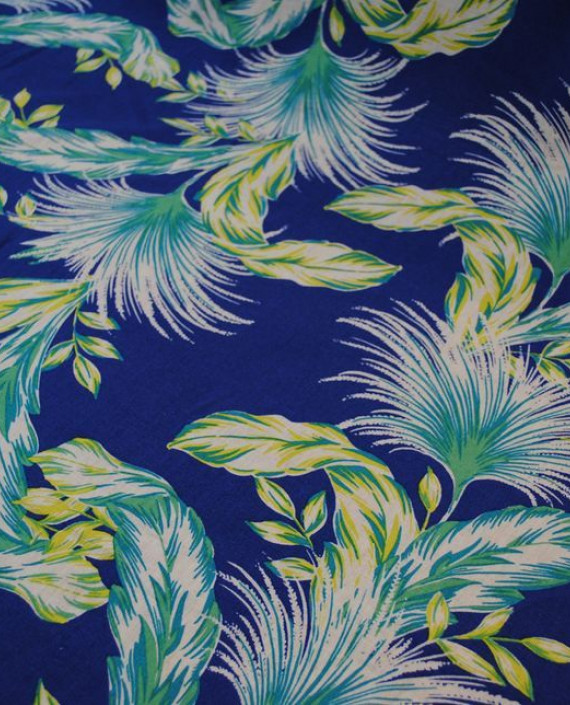 Ткань Лен «Птица счастья» 0005 цвет синий абстрактный картинка 1