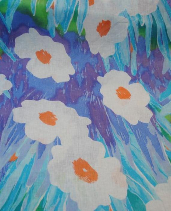 Ткань Лен «Ромашковый 0006 цвет голубой цветочный картинка