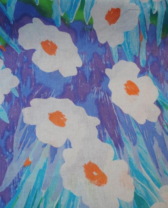 Ткань Лен «Ромашковый 0006 цвет голубой цветочный картинка 2