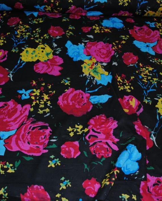 Ткань Лен «Цветочный» 0007 цвет черный цветочный картинка