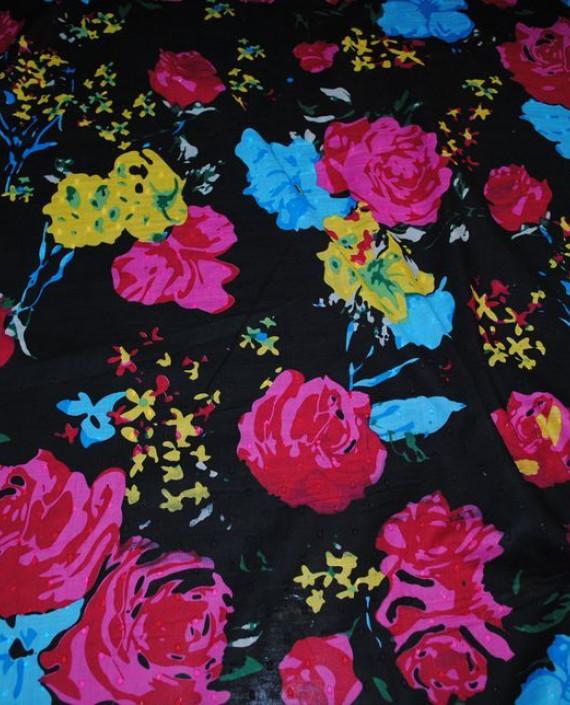 Ткань Лен «Цветочный» 0007 цвет черный цветочный картинка 2