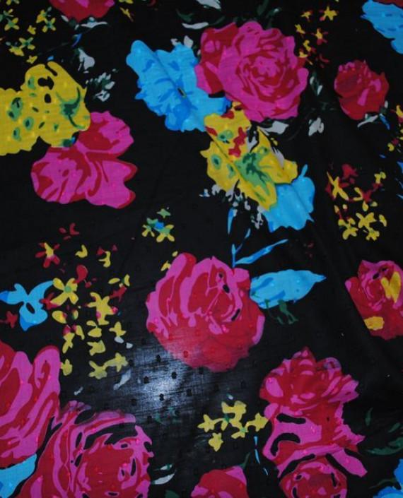 Ткань Лен «Цветочный» 0007 цвет черный цветочный картинка 1