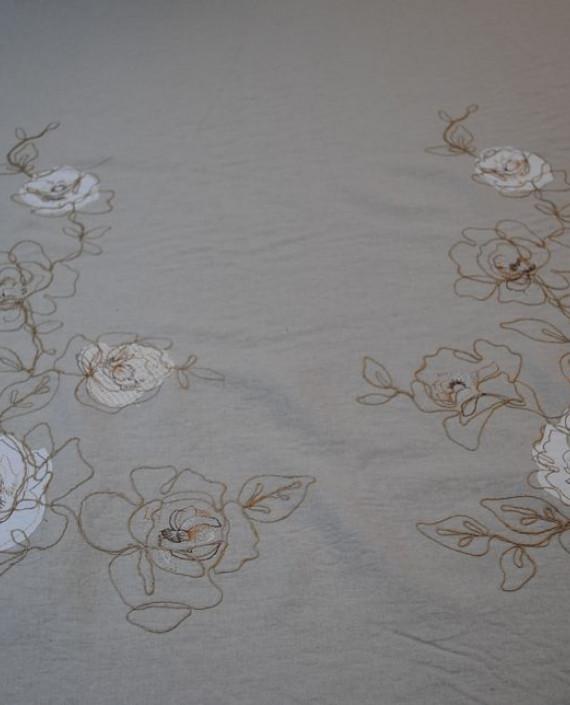Ткань Лен «Белая роза» 0008 цвет серый цветочный картинка 1