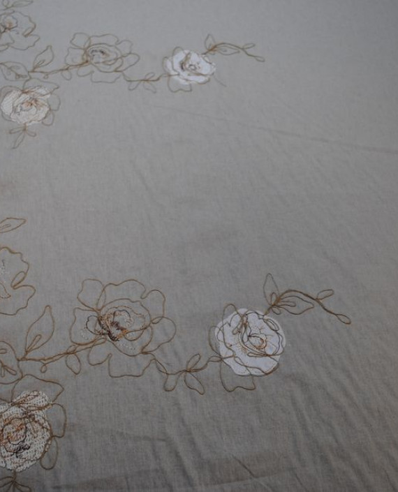 Ткань Лен «Белая роза» 0008 цвет серый цветочный картинка 2