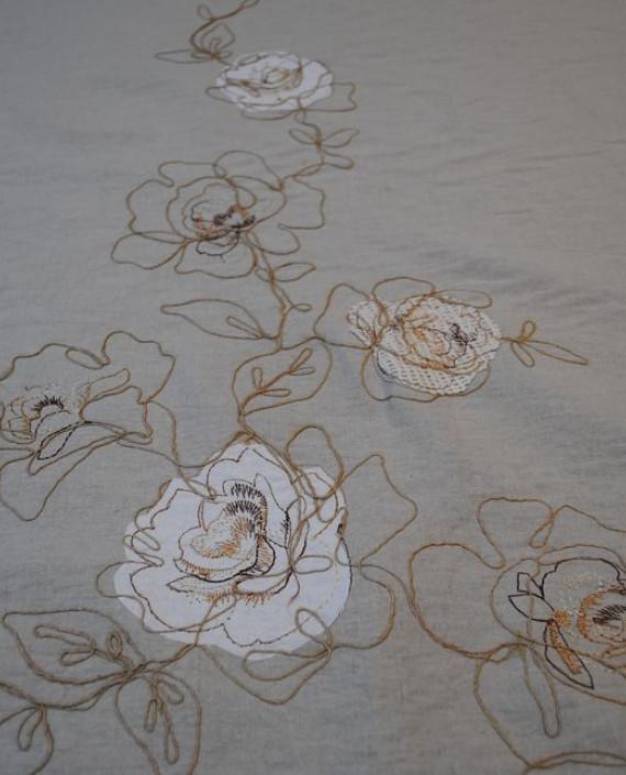 Ткань Лен «Белая роза» 0008 цвет серый цветочный картинка 3