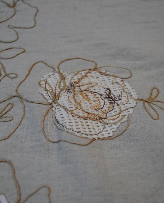 Ткань Лен «Белая роза» 0008 цвет серый цветочный картинка 4