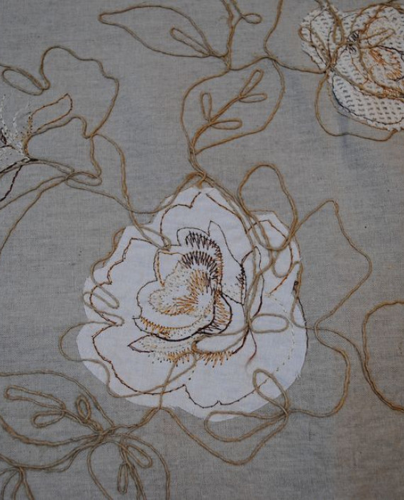 Ткань Лен «Белая роза» 0008 цвет серый цветочный картинка