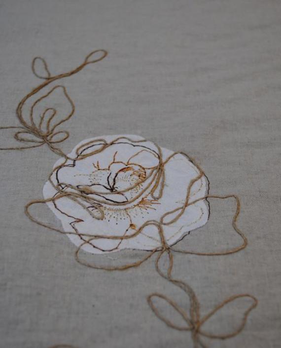 Ткань Лен «Белая роза» 0008 цвет серый цветочный картинка 5
