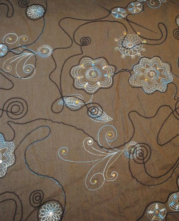 Ткань Лен «Весенняя фантазия» 0012 цвет бежевый цветочный картинка 1
